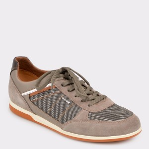 Pantofi GEOX bej, U824Gb, din piele intoarsa si material textil
