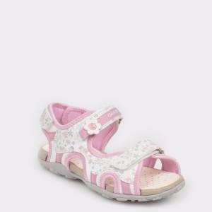 Sandale pentru copii GEOX albe, J92D9C, din material textil