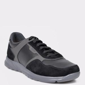 Pantofi Sport Geox Negri, U940ha, Din Material Textil Si Piele Naturala
