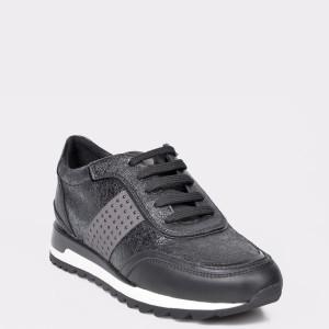 Pantofi sport GEOX negri, D94AQA, din piele ecologica si piele naturala