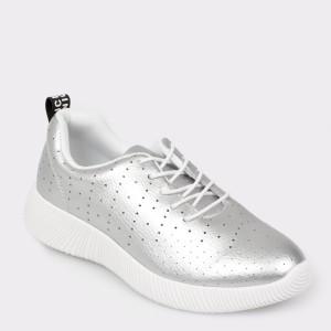 Pantofi Sport Flavia Passini Argintii, Yd7408, Din Piele Naturala