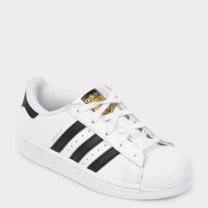 Pantofi sport pentru copii, ADIDAS albi, Ba8378, din piele naturala