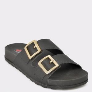 Papuci negri, 5436101, din piele ecologica