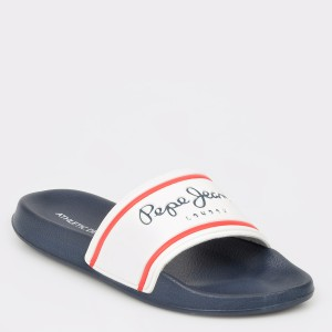 Papuci PEPE JEANS albi, Ms70070, din PVC