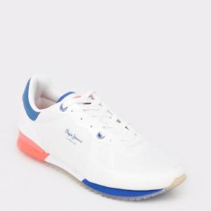 Pantofi sport PEPE JEANS albi, Ms30507, din material textil