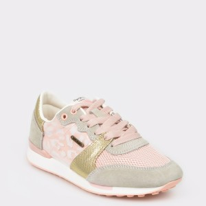 Pantofi Pepe Jeans Roz, Ls30862, Din Piele Naturala Si Material Textil