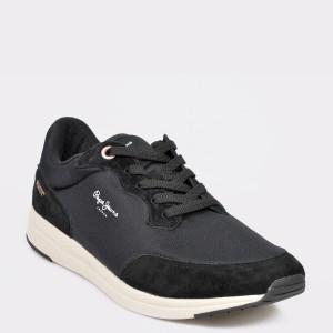 Pantofi sport PEPE JEANS negri, MS30575, din material textil si piele intoarsa