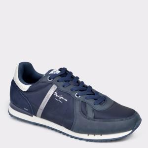 Pantofi sport PEPE JEANS bleumarin, MS30579, din material textil si piele naturala