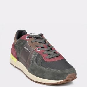 Pantofi sport PEPE JEANS gri, MS30581, din material textil si piele naturala