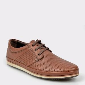 Pantofi OTTER maro, M4409, din piele naturala