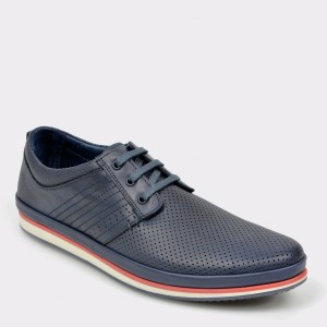 Pantofi Otter Bleumarin, M4409, Din Piele Naturala