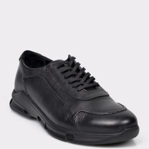 Pantofi OTTER negri, M5362, din piele naturala