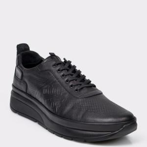 Pantofi Otter Negri, M5429, Din Piele Naturala