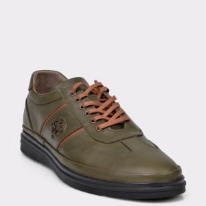 Pantofi Otter Verzi, M5419, Din Piele Naturala