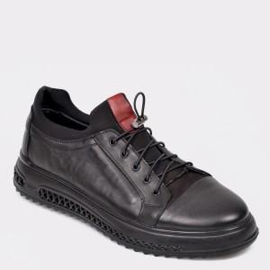 Pantofi Otter Negri, M5373, Din Piele Naturala