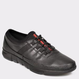 Pantofi OTTER negri, M5397, din piele naturala