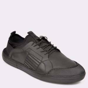 Pantofi OTTER negri, M5555, din piele naturala