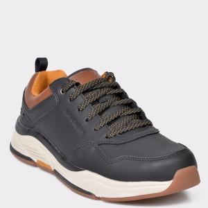 Pantofi sport SKECHERS negri, 66204, din piele naturala