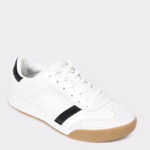 Pantofi sport SKECHERS albi, 52321, din piele naturala