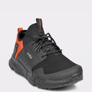 Pantofi sport SKECHERS negre, 51904, din material textil si piele ecologica