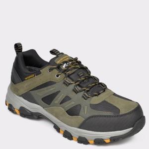 Pantofi sport SKECHERS kaki, 66275, din material textil si piele naturala