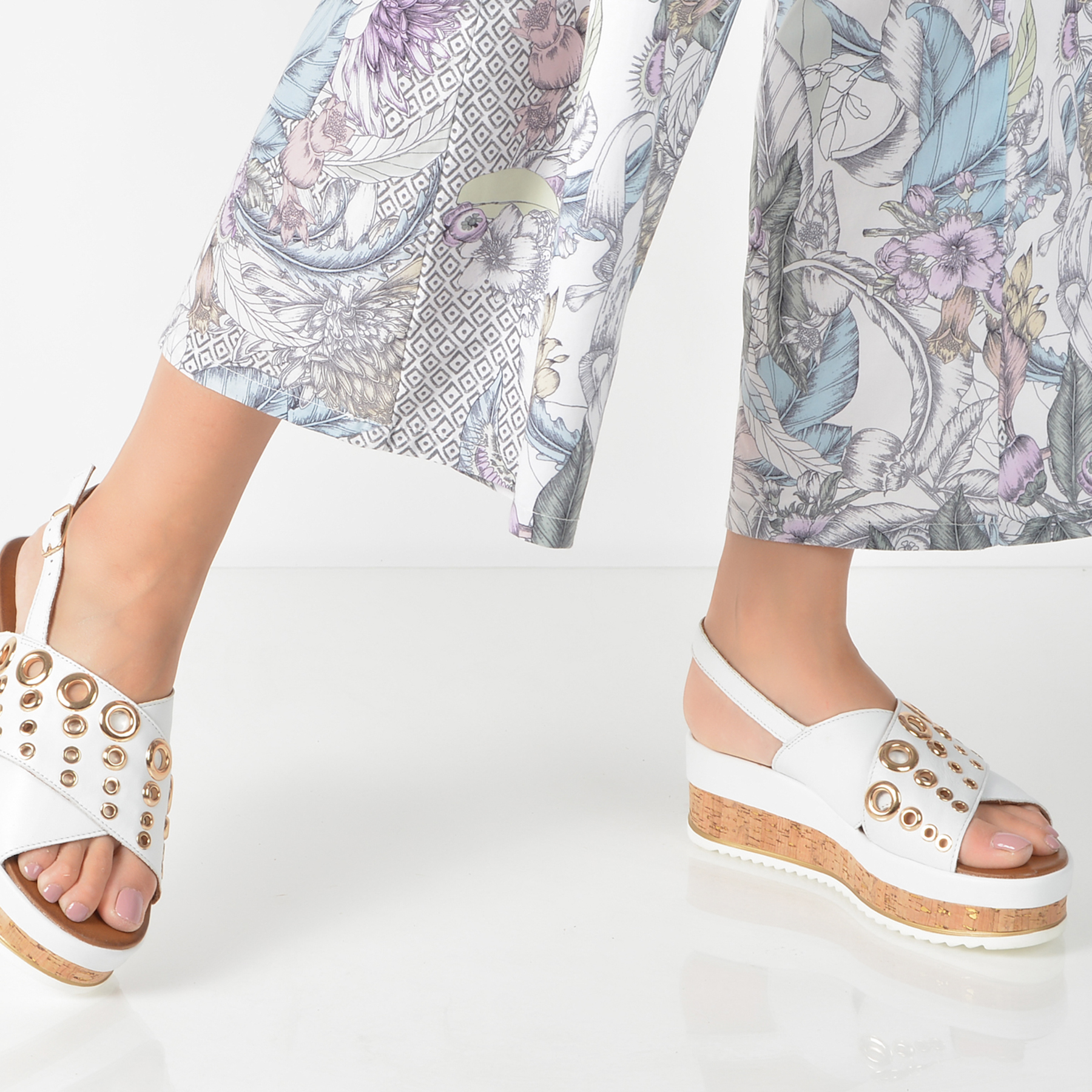 Sandale IMAGE albe, 8836, din piele naturala