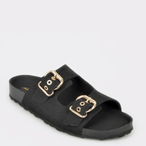 Papuci ALDO negri, Laydith, din piele naturala