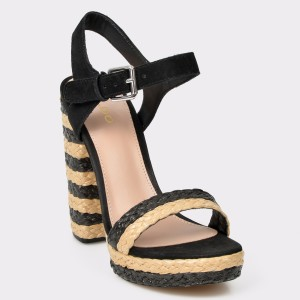 Sandale ALDO negre, Huglag, din piele naturala