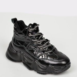 Pantofi FLAVIA PASSINI negri, M622, din piele naturala si material textil