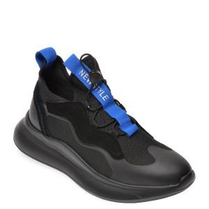 Pantofi sport BITE THE BULLET negri, G9023, din material textil si piele naturala