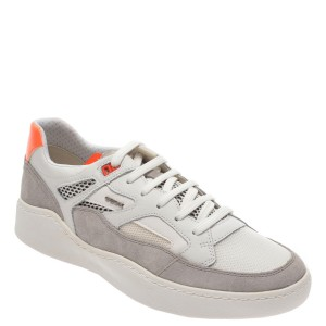 Pantofi sport GEOX albii, U027XA, din material textil si piele naturala