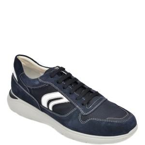 Pantofi sport GEOX bleumarin, U029DC, din material textil si piele intoarsa