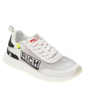 Pantofi sport JOHN RICHMOND albi, 1220, din material textil si piele naturala