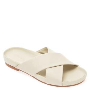 Papuci CLARKS albi, Pure Cross, din piele naturala