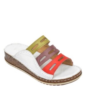 Papuci CONSUELO albi, 1347, din piele naturala