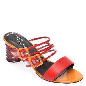 Papuci FLAVIA PASSINI rosii, 4024SAS, din piele naturala