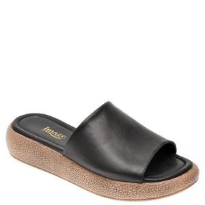 Papuci IMAGE negri, 6027, din piele naturala