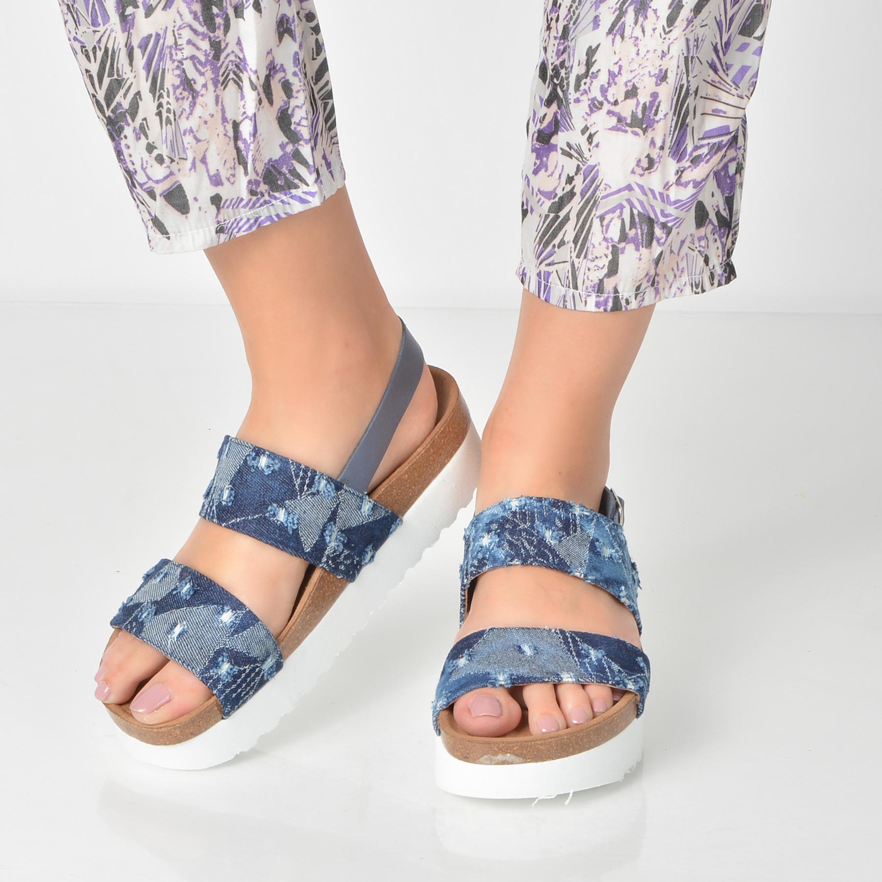 Sandale LA COMPANIA NATURAL albastre, 17516, din piele naturala si material textil