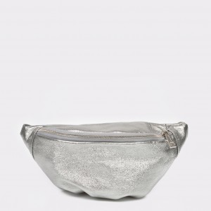 Borseta EPICA argintie, Aa425, din piele naturala