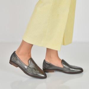 Pantofi IMAGE argintii, 24835, din piele naturala