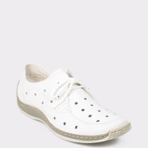 Pantofi RIEKER albi, L1715, din piele naturala