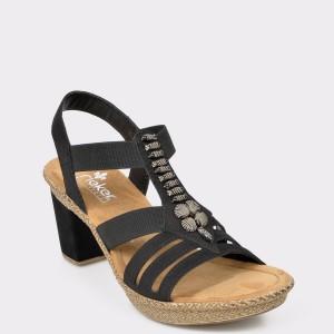 Sandale RIEKER negre, 66506, din piele ecologica