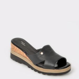 Papuci FLAVIA PASSINI negri, din piele naturala