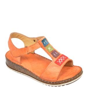 Sandale CONSUELO portocalii, 1341, din piele naturala