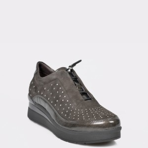 Pantofi STONEFLY gri, Cream 21, din piele naturala