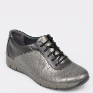 Pantofi SUAVE gri, 10506, din piele naturala