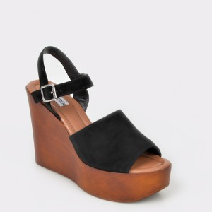 Sandale STEVE MADDEN negre, Bellini, din piele intoarsa