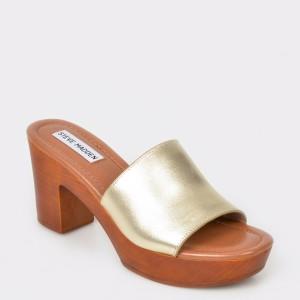 Papuci STEVE MADDEN aurii, Fran, din piele naturala