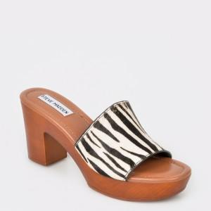 Papuci STEVE MADDEN alb-negru, Fran, din piele ecologica