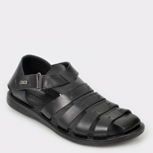 Sandale OTTER negre 17455 din piele naturala
